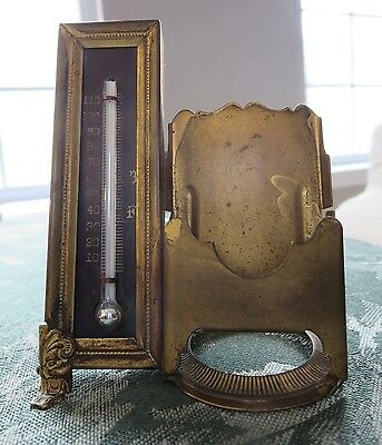 Card Holder / Thermometer Combo Victorian Brass Desktop Accessory