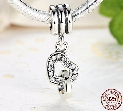 Genuine interlocking Hearts Locked Love Sterling Silver 925 Charm Gift Bead