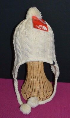 NORTH FACE Women's Beanie Hat Fuzzy Earflap  Pompom Lined Vintage One Size New