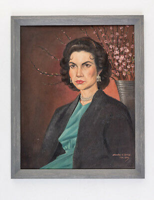 Vintage oil painting on board of dark haired woman 'Sally' - signed 1958