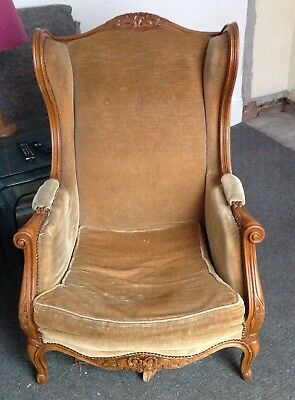 Antique French armchair in need of re-springing - pale gold/green velvety fabric
