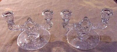 Pair Of 2 Double Glass Candelabras With Floral Design