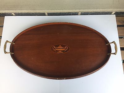 """Antique Vintage Victorian Inlaid Mahogany Oval Butler Serving Tray 24"""""""