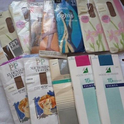 Lot of Original Vintage Tights Size Large to XL Pretty Polly & House of Fraser