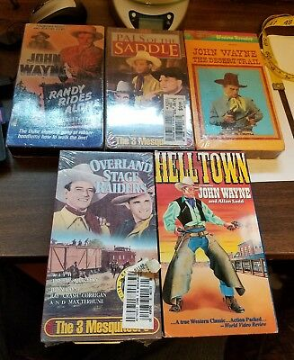 Lot of 5, 4 unopened John Wayne VHS Tapes Movies Classic Videos Western Action