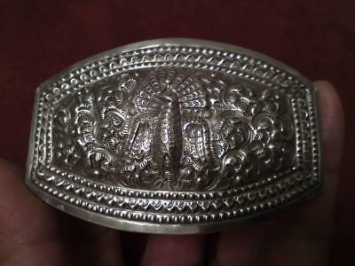 Antique Burmese Indian Repoussé & chasing peacock silver buckle weight 55.2grams