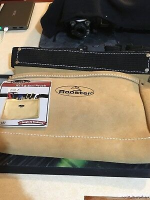 Nail And Tool Pouch-Rooster Rei-227 3 Pkt Leather Quality Bag With Bonus Gloves