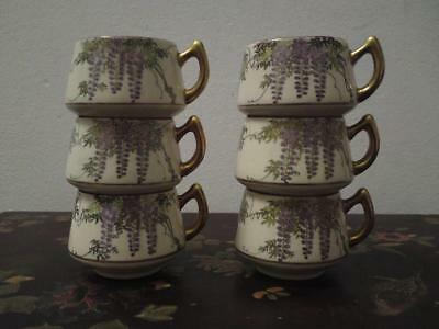 Set of six Signed Koshida Japanese Satsuma Pottery cups Wisteria Flowers 1940s