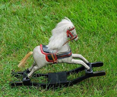 Old Miniature Wooden Bow Rocking Horse Beautifully Carved