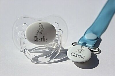 Personalised Soother Avent  And Soother Clip * P Rabbit *Can Be Sterilised*