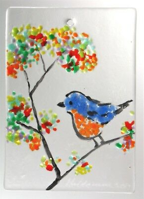 "BLUEBIRD WINDOW,WALL HANGING, BIRD Fused Stained Glass 2.5x3.5"" ACEO Sun Catcher"