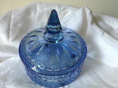 Vintage - Depression Glass in Blue, Dish / Bowl Covered Princess Pattern ? - 6""
