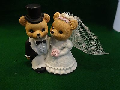 Homco Bride and Groom Porcelain Bears Wedding Cake Topper Figurines #1424