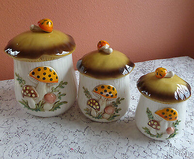 Vintage Sears Ceramic Merry Mushroom Canisters Set of 3 1976 Japan