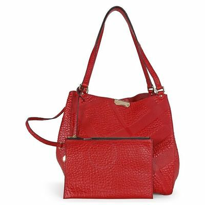 206aec14447 BURBERRY CANTERBURY RED Embossed Check Leather Tote - $529.00 | PicClick