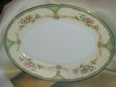 Meito China Cream & Floral Pattern Japan 8 1/2 x 11 3/4 Oval Serving Platter