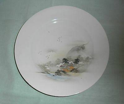 Vintage Kutani Signed Handpainted Lunch Plate  : Mountain Village Scene