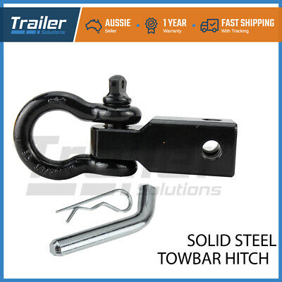 Solid Steel Tow Bar Receiver Hitch 4WD 4x4 Off Road Recovery 5Ton Bow Shackle