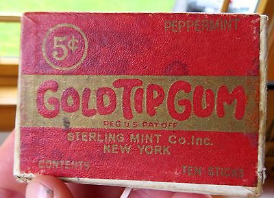 Orig 1930's Gold Tip Peppermint Chewing Gum box