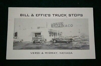 Old vintage Bill & Effie's Truck Stops Verdi Midway Nevada photo Business Card