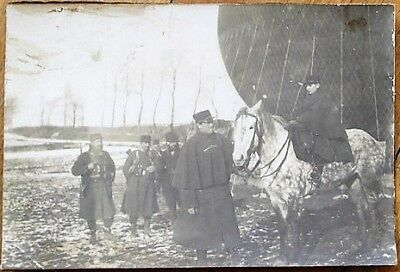 Hot Air Balloon c. 1900 French Photograph, Soldiers & Horses