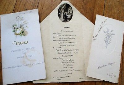 Menu: French Vintage Group of Three Different - 1927, 1937, 1962