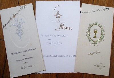Menu: French Vintage Group of Three Different - 1930, 1931, 1962
