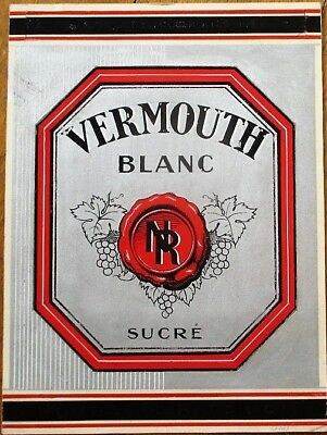 French Vermouth Label 1950s Original Art/Hand-Painted Art Deco w/Silver