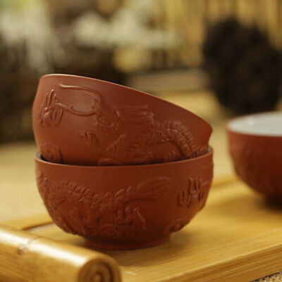 2pcs YiXing Ceramic tea cup Kung fu tea set Red Relief Chinese dragon cup 25cc