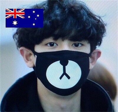 NEW Black & White Bear Face Cycling Dust Mask Cotton Mouth Respirator Breathable