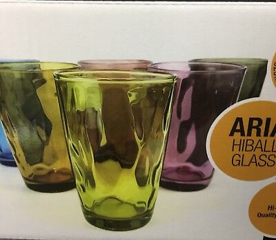 Coloured Glasses 325Ml Highball Drinking Glasses (Set Of 12)