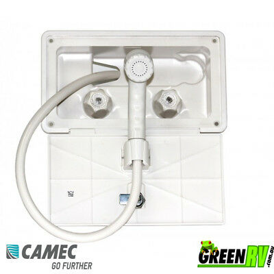 Compact White External Recessed Shower Box for Caravan Camper Trailer RV