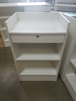 White cash register counter with drawer to suit slatwall counter Available now!!