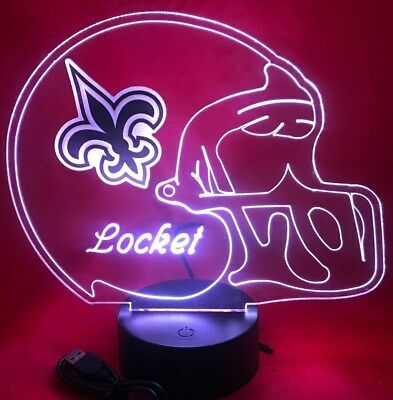 New Orleans Saints NFL Football Light Up Lamp LED With Remote Personalized Free