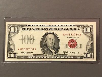 1966A Red Seal United States Note $100 One Hundred Dollar Elston-Kennedy