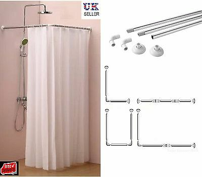 Shower Curtain U & L Shape Corner Rail 4 Way Rod Pole Bath Shower Rail Chrome
