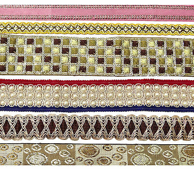 Vintage Indian Style Ribbon Multicolor Lot Of 6 Pcs Wrap Craft Sewing Lace Trim
