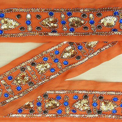 Home Decor Jahrgang Indisch Hand Perlen Border Sari Nähen Orange Trim Yd Lace
