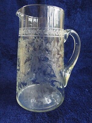 LARGE ANTIQUE ENGLISH EMBOSSED GLASS WATER JUG AESTHETIC PERIOD c1880
