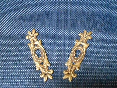 Pair of French Vintage Bronze STYLISH Keyhole Covers Escutcheons Leaves Decor