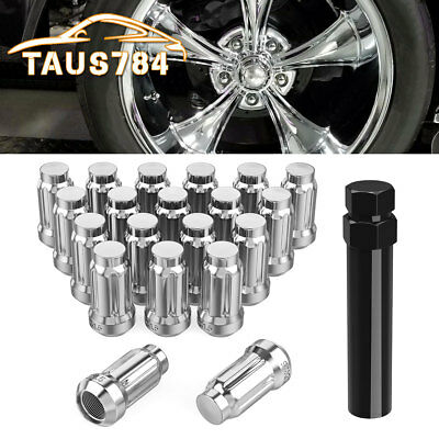 20 Chrome 12x1.5 Lug Nuts Bulge Acorn Cone Seat Closed End Fits Chevy Ford Jeep