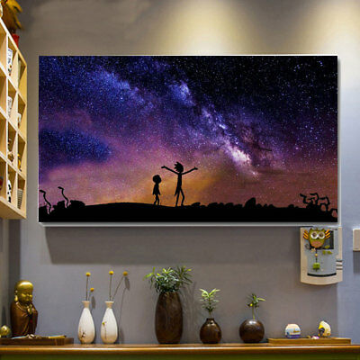 Rick and Morty Silk Cloth Beautiful Funny Colorful Paintings Art Bar Craft