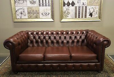 Mint Condition Ox Blood Burgundy Leather Chesterfield Sofa Couch Lounge Suite