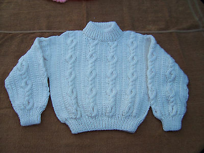 New Hand  Knitted Cable Jumper  Cream  6 -8 Years Approx