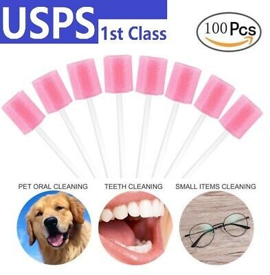100x Disposable Unflavored Oral Care Sponge Swab Tooth Cleaning Spong Toothbrush