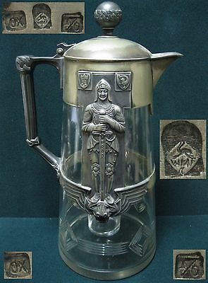WWII Antique Decanter carafe TROPHY metal glass original Germany WW2