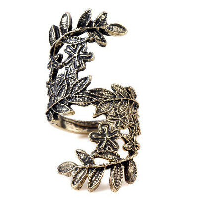 Old Bronze Unique Hollow Carving Beauty Leaf Leaves Ring + KeyRing CT S6Q1 R2F0