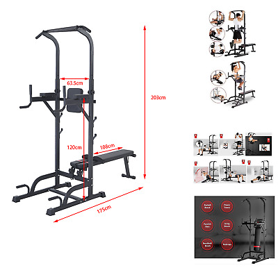 Fitness Power Tower Dip Station Sit/Pull/Press/Chin Up Bench Bar Ab Home Gym UK