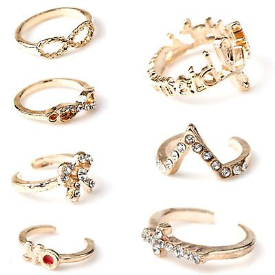 1 Set 7pcs Womens New Bowknot Knuckle Finger Tip Stacking Rings CT H3L6 L2V K8R7