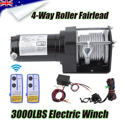 12V 3000LBS Electric Winch Steel Cable Wireless Steel Rope TRUCK OFF ROAD BG